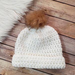 White Crochet Beanie, Fur Pom Pom, Cute Hats, Gift